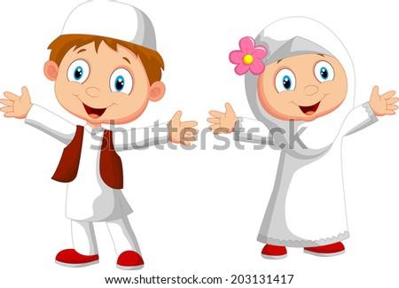 Happy Muslim kid - stock vector