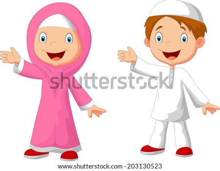 Happy Muslim kid cartoon - stock vector