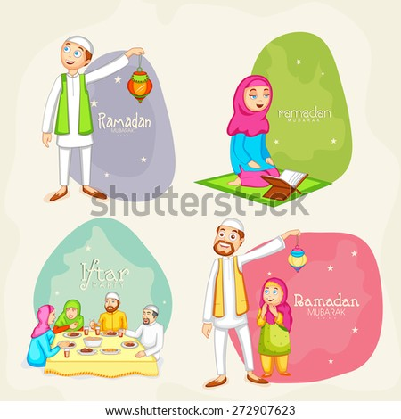 Happy Muslim people celebrating and following their rituals on occasion of holy month Ramadan Kareem celebration. - stock vector