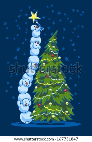 Happy New Yea!!! A group of funny snowmen are standing on each other and decorating the Christmas tree. - stock vector