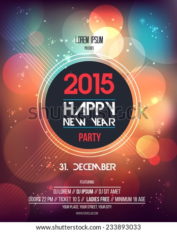 Happy New Year 2015  Abstract  Flyer Template. Can be used as poster. Vector - stock vector
