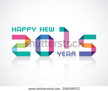 happy new 2015 year an illustration with color geometry numbers - stock vector