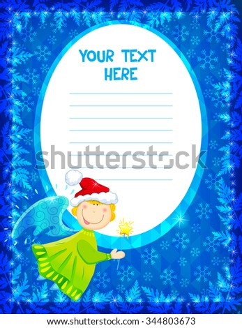 Happy New Year and Christmas card with funny Christmas angel.  - stock vector