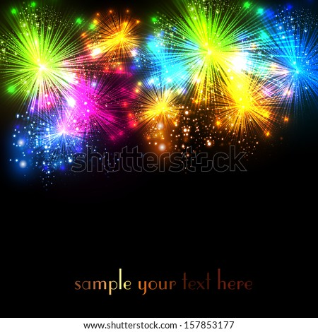 Happy New Year and Christmas firework vector celebration background, easy all editable - stock vector