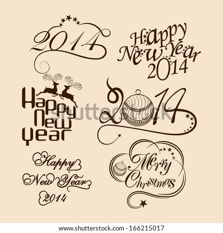 Happy New Year 2014 and Merry Christmas calligraphic and typographic elements set, frames, vintage labels. Ribbons, stickers. - stock vector