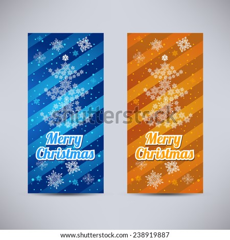 Happy New Year and Merry Christmas vector backgrounds blue and orange vertical set - fir-tree and snowflakes - stock vector