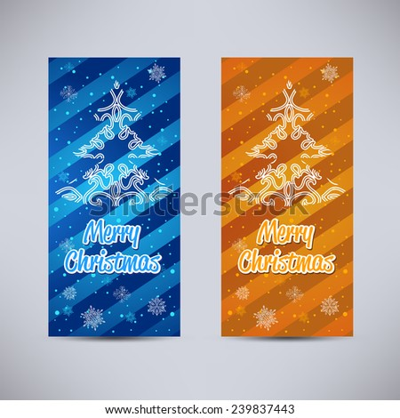 Happy New Year and Merry Christmas vector backgrounds blue and orange vertical set with ornament fir tree - stock vector