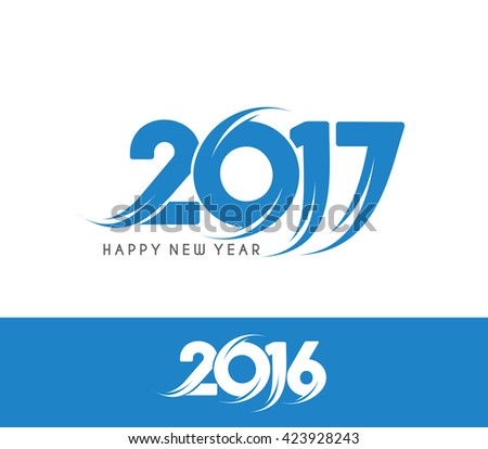 Happy new year 2016 and 2017 Text Design vector - stock vector