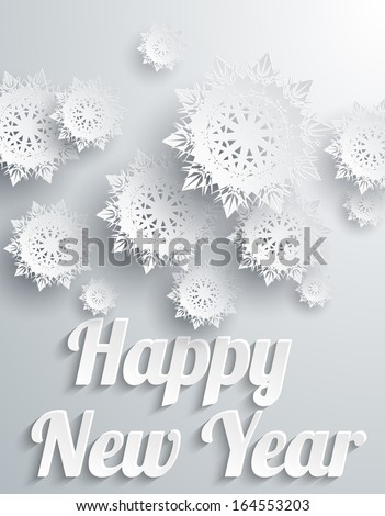 Happy New Year Background with Snowflakes - stock vector