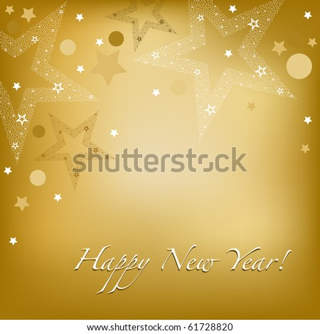Happy New Year Background With Stars And Text, Vector Illustration - stock vector