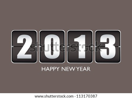 Happy new year 2013 background with ticker date calendar - stock vector