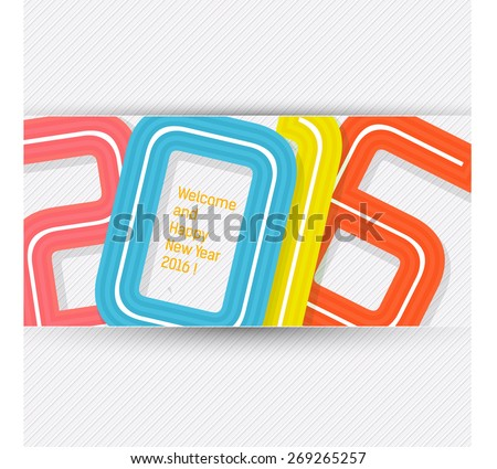 Happy new year 2016 banner, typographic illustration. Calendar cover design - stock vector
