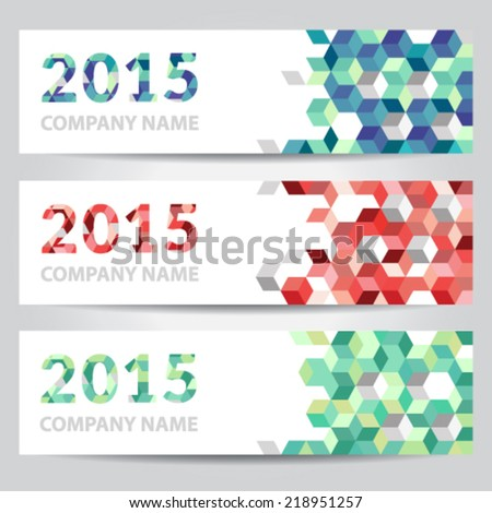 Happy New Year 2015 banners with colorful cubes - stock vector