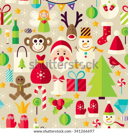 Happy New Year Beige Seamless Pattern. Merry Christmas Flat Design Vector Illustration. Tile Background. Set of Winter Holiday Items  - stock vector