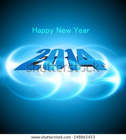 Happy new year 2014 blue colorful celebration design vector - stock vector