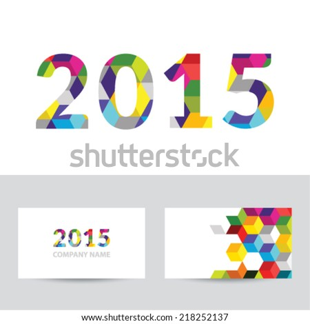 Happy new year 2015 - business card - stock vector