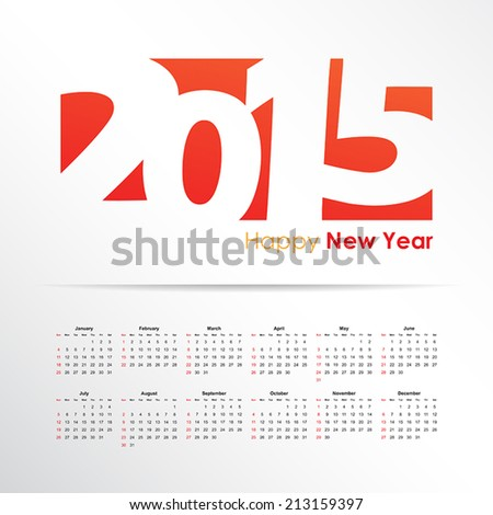 Happy New Year. Calendar 2015. - stock vector