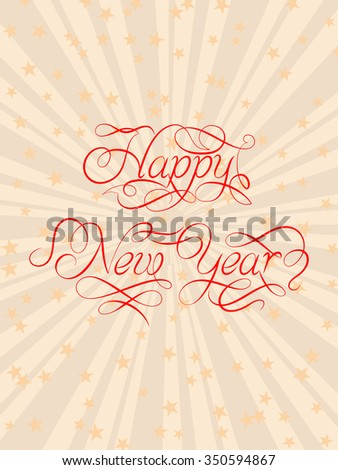 Happy New Year Calligraphy Design Vector Art - stock vector