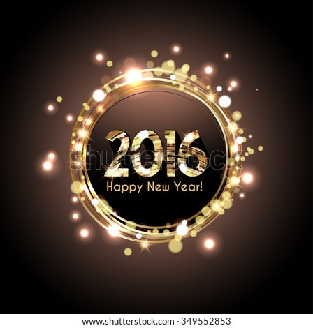 Happy New Year 2016 card, Glittering background - stock vector