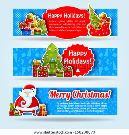 Happy New Year Card. Merry Christmas. banners set. Vector Illustration, eps10, contains transparencies. - stock vector