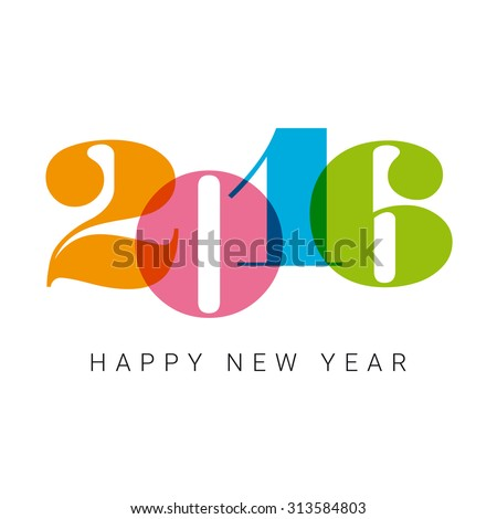 Happy new year 2016 card, numbers font, editable vector design - stock vector