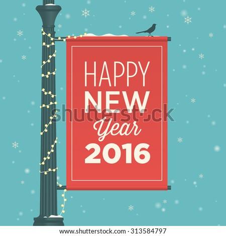 Happy new year 2016 card, street sign, editable vector design - stock vector