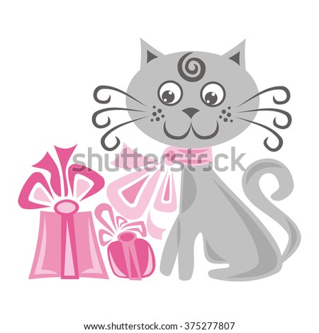 Happy new year card with beautiful cat and gifts vector illustration - stock vector
