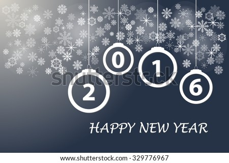 Happy new year card with Christmas ornaments, snowflakes and stars with the numbers 2016 on the trendy dark background. - stock vector