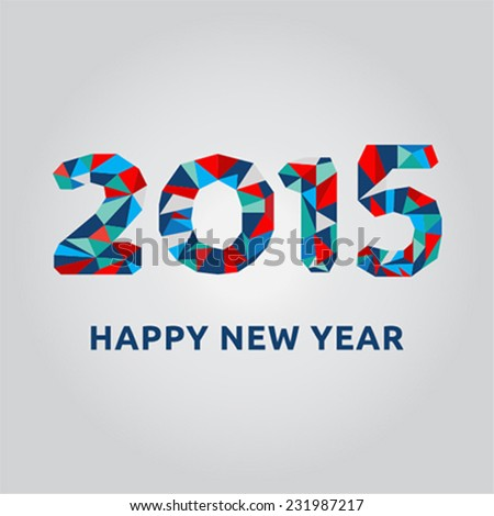 Happy New Year 2015 card with colorful segments inside numbers - stock vector