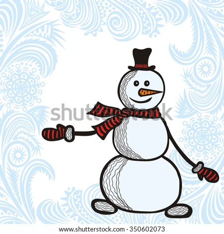 Happy new year card with cute cartoon snowman vector illustration - stock vector