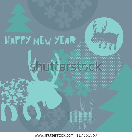 Happy new year card with deer - stock vector