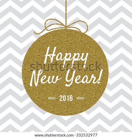 Happy New Year 2016 card with gold detail - stock vector