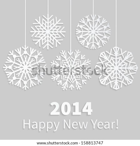 Happy New Year 2014 card with paper snowflakes. Applique background. Vector illustration.  EPS10.  - stock vector