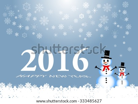 Happy new year card with two snowmans, snowflakes and the numbers 2016 with inscription Happy New Year on the trendy light blue background. - stock vector