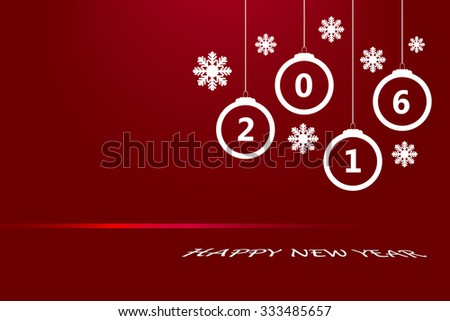 Happy new year card with white Christmas ornaments, seven white snowflakes and red link with the numbers 2016 on the traditional red background. - stock vector
