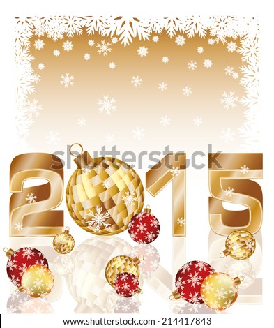 Happy new 2015 year card with xmas balls, vector illustration - stock vector