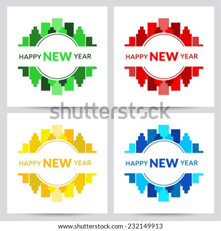 Happy New Year cards with colorful city logo - stock vector