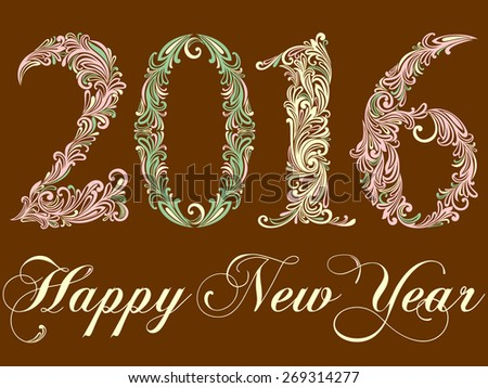 Happy New Year 2016 celebration background.  Vector Version.  - stock vector