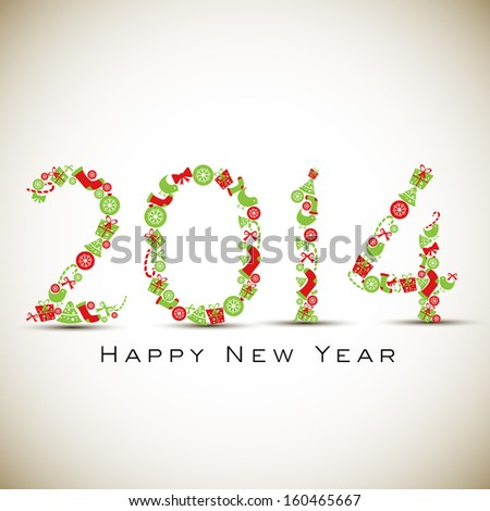 Happy New Year 2014 celebration background with colorful floral decorated text on abstract brown background.  - stock vector
