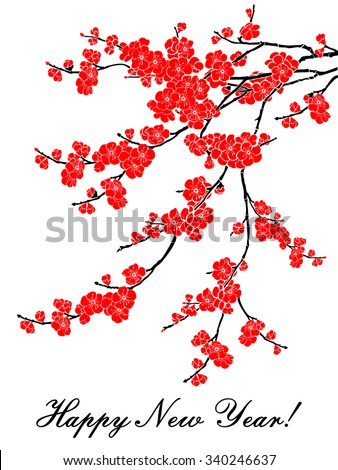 Happy New Year. Celebration background with Red Plum flowers and place for your text. Vector Illustration - stock vector