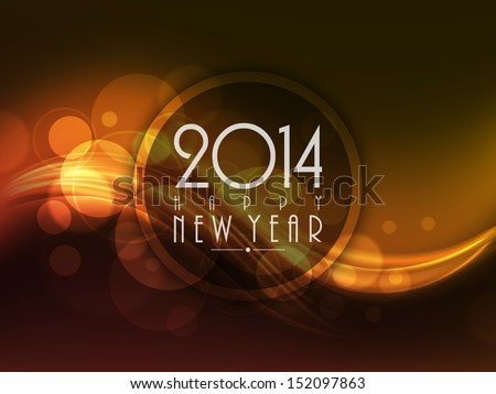 Happy New Year 2014 celebration background with shiny wave.  - stock vector