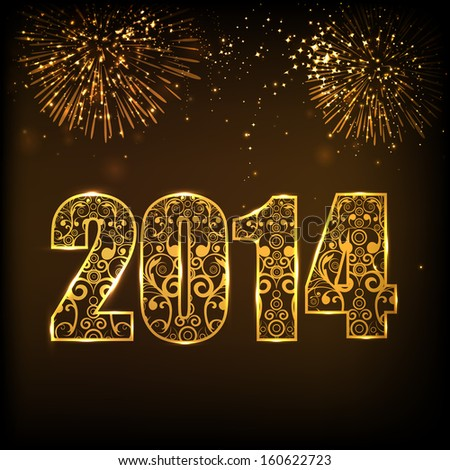 Happy New Year 2014 celebration concept with floral decorated golden text on beautiful fireworks in the night.  - stock vector