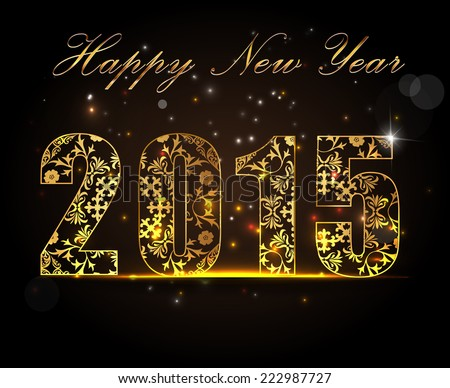 Happy New Year 2015, celebration concept with golden text on beautiful glow in the night - vector EPS10 - stock vector