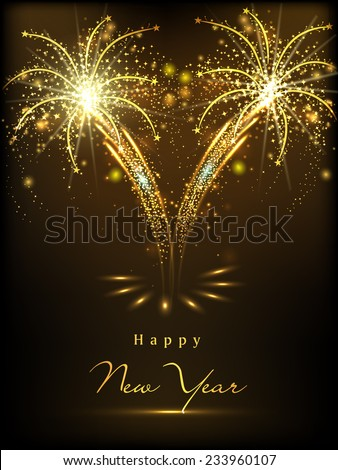 Happy New Year 2015 celebration concept with shiny text on beautiful fireworks in the night. - stock vector