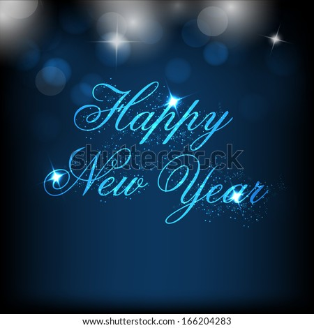 Happy New Year 2014 celebration flyer, banner, poster and invitation with shiny text on blue background.  - stock vector