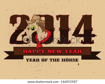 Happy New Year 2014 celebration flyer, banner, poster or invitation with stylish text and symbol of the year Horse - stock vector