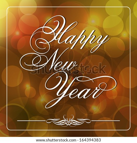 Happy New Year 2014 celebration flyer, banner, poster or invitation with stylize text on shiny brown background.  - stock vector