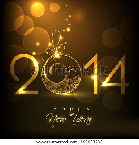Happy New Year 2014 celebration flyer, poster, banner or invitation with golden text and floral decorated Christmas ball.  - stock vector