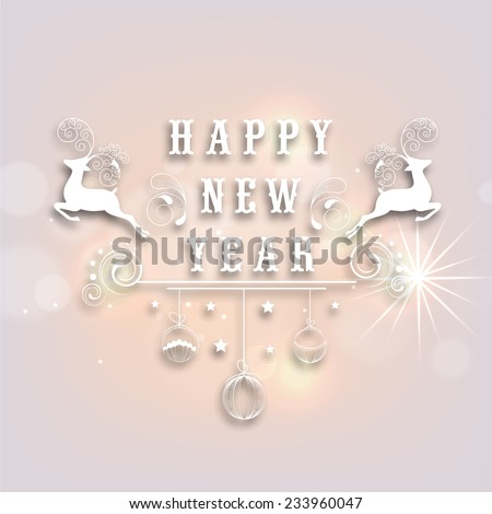 Happy New Year 2015 celebration party poster or banner with reindeer and floral decorated hanging X-mas Balls on shiny background - stock vector