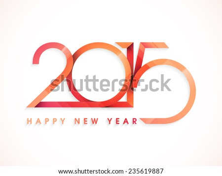 Happy New Year celebrations poster or banner design with stylish text 2015 on white background. - stock vector
